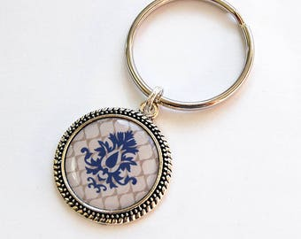 Damask Key Ring, key chain, Blue, Brown, Abstract Design, gift for her, stocking stuffer, gift for mom, Under 10 (7651)