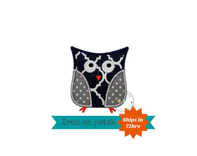 Navy and gray owl iron on patch,  owl machine embroidered heat press patch for clothing, quick shipping appliques