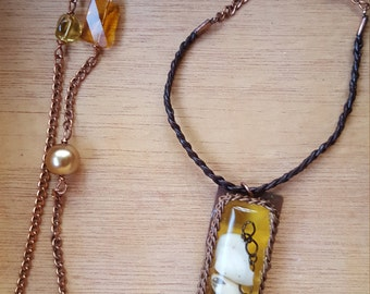 Tiny Shell Necklace - Gold Shell Necklace - Shell Necklace with Leather and Beaded Chain - Ocean Inspired Necklace - Resin Shell Pendant