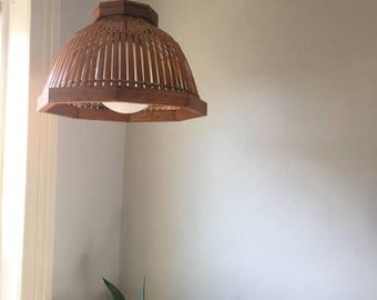 vintage boho rattan hanging pendant lamp shade. hanging bamboo rattan lamp. 1970s bohemian wicker rattan light fixture.