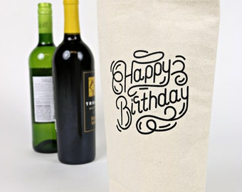Wine Tote - Recycled Cotton Canvas - Happy Birthday Swirl