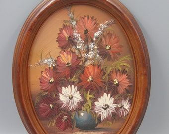 Floral Oil on Board Painting Oval Wood Frame Autumn Fall Colored Flowers Vintage Still Life
