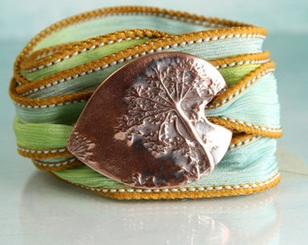 Ribbon Wrap Bracelet with Decorative Copper Wildflower Slide