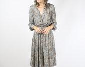 Paisley Vintage Shirt Dress, Indian pattern Japanese Vintage 70s Dress, XS Small 4034