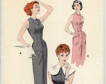 Vintage Butterick Pattern 7307 - ca. 1955 - Sleeveless Sheath Dress Size 12 Bust 30