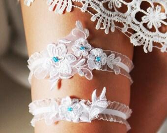 Wedding Garter Bridal Garter Lace Garter - Something Blue Garter Set - Rustic Garter Bohemian Garter Flower Garter White Floral Garter