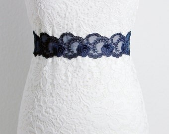 Navy Blue Lace Sash Belt - Bridal Sash Belt Wedding Sash Belt Wedding Dress Sashes Belts - Flower Lace Ribbon Sash Belt - Something Blue