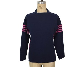 vintage 1970s ski sweater / navy blue pink / Sportcaster International / Miss Sidewinder / wool / women's vintage sweater / tag size medium