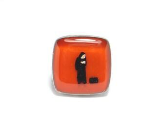 The Nun's Story. Resin rings. Modern jewelry. Catholic nun. Adjustable ring, resin jewelry. Nun. Square resin ring.