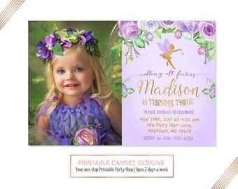 Purple Fairy Birthday Invitation, Floral Gold Invitation, Fairy Garden Invitation, Fairy Woodland Party, Magical Fairy Invite