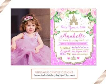 Princess Birthday Invitation, Pink Purple Princess, Princess Castle Party, Glitter Princess Birthday, Floral Princess Invite, Printable