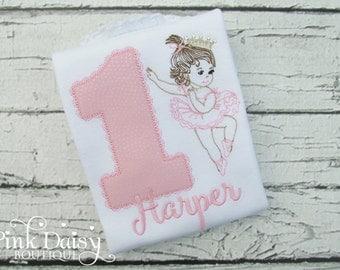 Pink Ballerina Birthday Shirt - Vintage Ballerina Baby Birthday - Retro Ballerina Girl - Ballet Birthday Shirt - Pink Gold Birthday Shirt