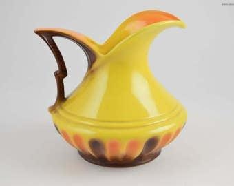 Art Deco ceramic Vase, yellow vase from mosa maastricht