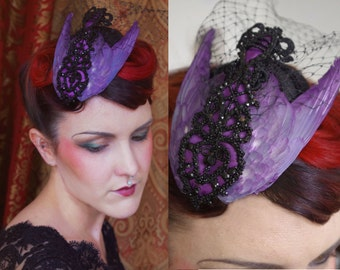 Amethyst purple bird wing hair fascinator hat w/ cage veil and antique jet bead lattice ~ Steampunk Fairytale ~ Victorian ~ Ascot Derby Race