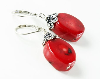 Red Bamboo Coral Earrings, Sterling Silver, red gemstone earrings, statement, bold, original, original artisan earrings,holiday gift for her