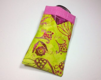 Fabric Sunglass Case, Eyeglasses Holder, Snappy Sun glasses Sleeve, Bright Fluorescent Yellow Pink Smartphone Purse Organizer