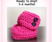 SALE Winter Wrap Baby Boots, READY to SHIP photo prop newborn, 3-6 months, pink hot pink
