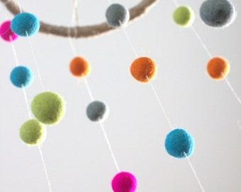 Bright Felt Ball Mobile- Baby Childrens Room Decor