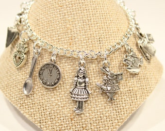 Alice in Wonderland Bracelet, - Alice in Wonderland Charm Bracelet - Children Charm Bracelet - Childs Jewelry - Children Bracelet