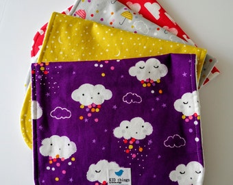 Burp Cloths for Girl,  Set of 4 - Clouds, Rain, Stars, Moons, Sky, Raindrops, Minky Back