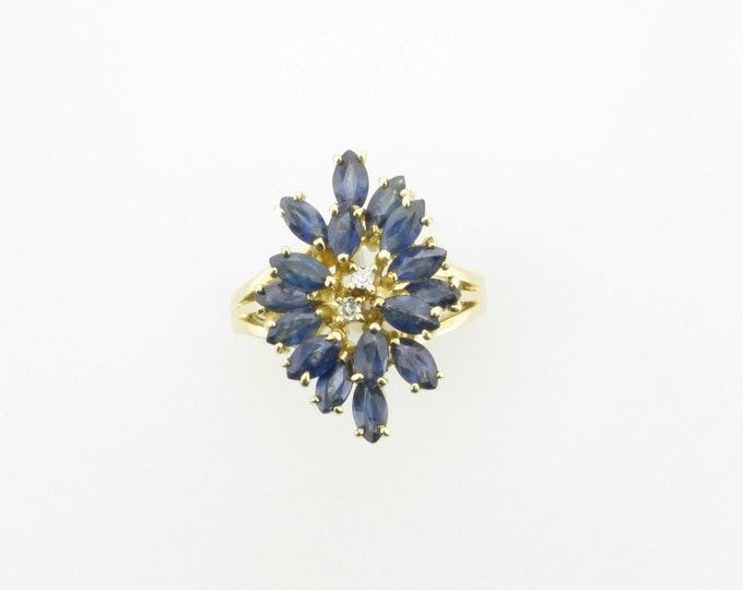 Blue Sapphire and Diamond Cocktail Ring; Blue Sapphire and Diamond Cluster Ring; Vintage Blue Sapphire Ring; September Birthstone