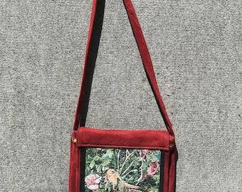 Fairy satchel, tapestry satchel, fairy messenger bag, fairy tapestry satchel, fairy bag, fairy purse,