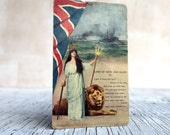Vintage unused Land of Hope and Glory postcard. Britannia, lion and Union Jack flag. Patriotic home decor.
