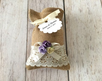10 burlap and lace favor bags, lavender, purple and ivory color paper flowers, wedding, bridal shower, baby shower.