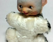 Vintage Cat Kitten Baby Toy Stuffed Animal Rubber Head Pink Satin Ribbon  1950's Baby Shower Collectible Grat Tabby Tiger Stripe