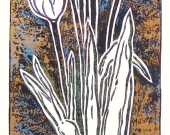"Unique linocut hand print on mulberry paper ""12 x 5"", one-of-a-kind by Jody Bare: Tulips=perfect love"