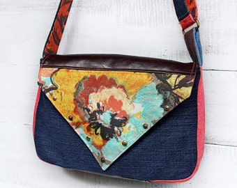 Upcycled Denim Messeneger Bag Studded Colorful Floral Handmade Unique - Ready to Ship