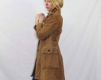 Vintage 70s Camel Brown Suede Leather Fall Spring Swing Coat Women's Size XS