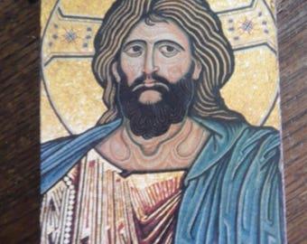Byzantine Icon of Christ Messiah Jesus God Image, Orthdox, Wooden, Divine Trinity, Wall Decoration New Testament Decoupage Plaque Art