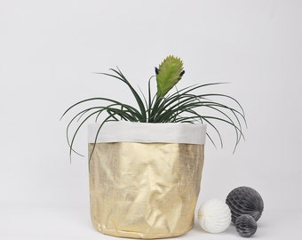 Large Fabric Planter,  Plant Holder, Fabric Basket, Soft Pot, Storage Basket, Pot Plant Holder, Metallic Gold Fabric Basket