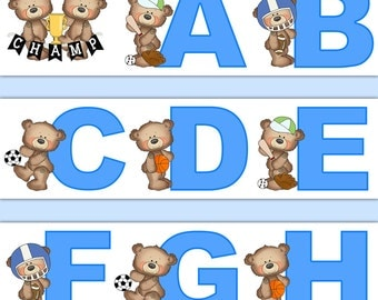 TEDDY BEAR SPORTS Nursery Decor Alphabet Wallpaper Border Decals Wall Art Boy Blue Letter Stickers Room