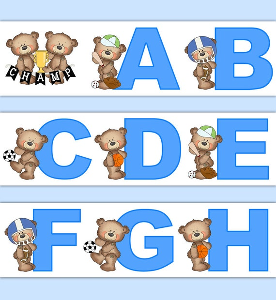 SPORTS NURSERY DECOR Teddy Bear Alphabet Wallpaper Border