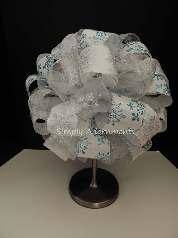 Snowflakes Winter Wonderland Christmas Bow Blue Silver Snowflakes Christmas Tree Bow Snowflakes Tree Topper Bow Christmas Tree Topper Bow