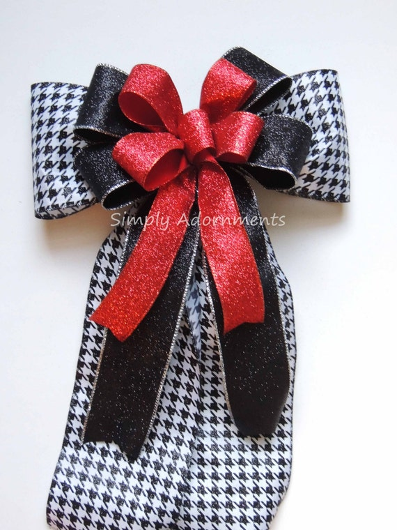 Red Black Houndstooth Bow Red Black Houndstooth Wreath Bow Red Black Houndstooth Halloween Door hanger Bow Black Red Christmas Tree Bow