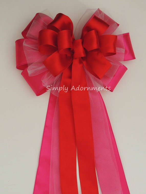 Hot Pink Red Wedding Bow Pink Red Wedding Pew Bow Pink Red Wedding Ceremony Decor Red Pink Bridal Shower Party Decor Church Aisle Pew Bow