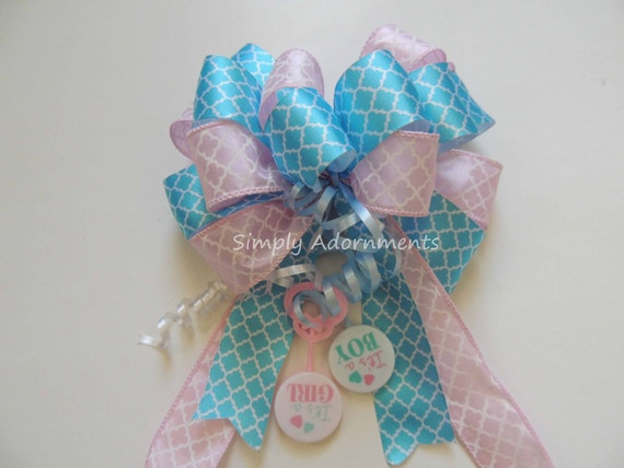 Baby Gender Reveal Party Decor Bow Boy or Girl Baby Shower Bow Baby Reveal Party Decoration Baby Reveal Shower Decor Baby Reveal Gift Bow