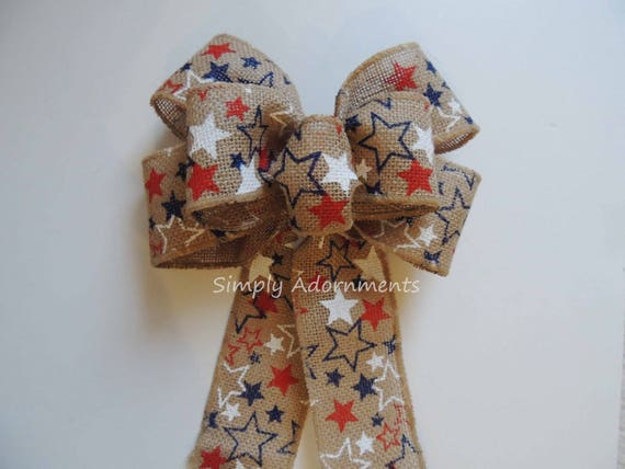 Rustic Burlap July 4th Wreath Bow Patriotic Burlap Stars Bows July 4th Rustic burlap Door hanger Bow Patriotic Burlap Home Decor