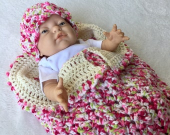 Pink, Green & Cream Newborn Cocoon with Matching Hat