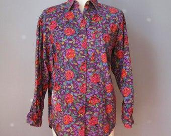 Floral Blouse / Vtg 80s / Gitano Rayon Cotton blend Floral Blouse / Size Small purple & red rose print blouse