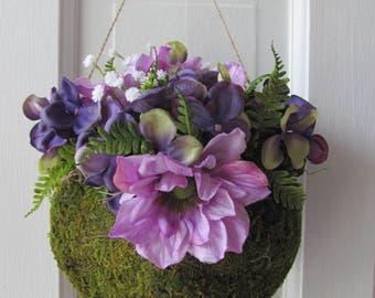 Wedding Aisle Decor, Wedding Decorations, Pew Markers, Hanging Moss Heart Basket, Flower Girl Basket, Wedding Aisle Floral Arrangements