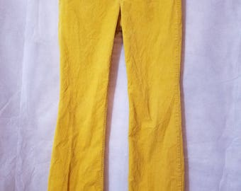 XS S Extra Small Vintage 90s J. Crew Low Rise Canary Yellow Corduroy Punk Indie Grunge Alternative Preppy Trousers Pants 2R Favorite Fit