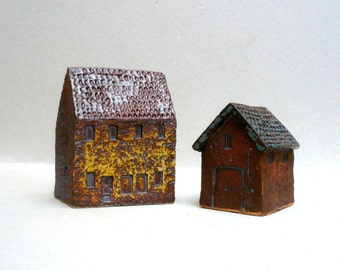 Ceramic Sculpture, Farmhouse And Barn , Miniature Farmyard Buildings