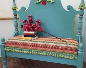 Shabby Chic Bench, Twin Bed Bench, Fiesta Bench, Bench with Storage, Entryway Bench, Painted Furniture, Shabby Chalk Painted Bench