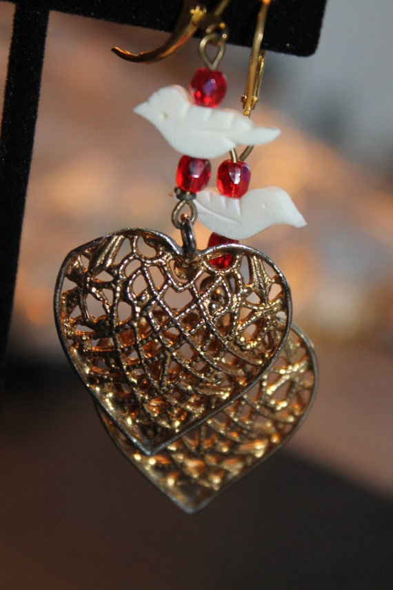 "Dangle Earrings ""Hearts"" Gold Vintage assemblage Repurposed, hand carved birds, filigree hearts, OOAK, Religious Jewelry"
