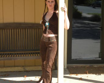 Southwestern style leather pants halter top indian pueblo native american style