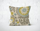Euro Pillow Cover Summerland Yellow, Blue, Grey Suzani - 22, 24, 26 and More Sizes - Zipper Closure- ec246